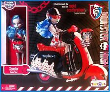 Monster High Ghoulia Yelps DOLL Pet Owl MotorCycle Scooter Exclusive PLAY SET !!
