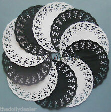EXCLUSIVE BLACK AND WHITE PAPER LACE DOILY MEDALLIONS x 10