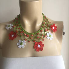 White and Red Necklace-Flower Necklace-Crochet Necklace with Naturel Stones