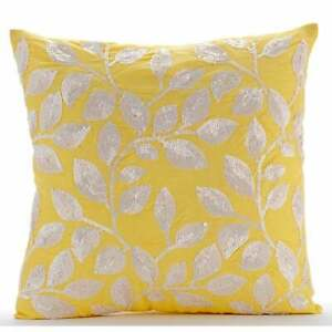 """Handmade Yellow Couch Cushion Cover 16""""x16"""",Silk Leaf Sequins - Nature Is Classy"""