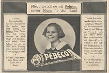 Y4218 Zahnpasta PEBECO - Pubblicità d'epoca - 1925 Old advertising