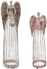 Antiqued Metal Garden Angel Statue Set of 2, Indoor Outdoor Angel Yard Art Decor