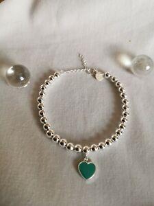 925 Sterling Silver Aqua Heart Bead Linked Charm Bracelet