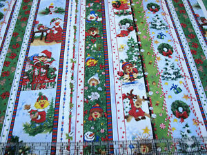 3 Yards Quilt Cotton Fabric - Hoffman Suzy's Christmas Character Stripe