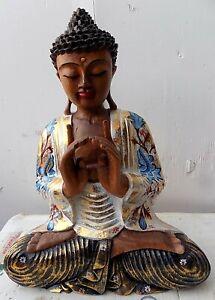 Statua di Buddha in legno massello suar Intarsiato e dipinta a mano cm 41x18x54h