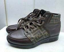 Fendi Italy Dark Brown Tan Leather Ankle Boot Lace Up Logo Men's Shoes 9.5M 42,5