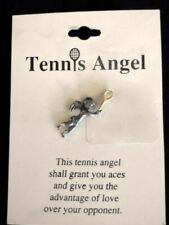 """Tennis Angel 1"""" Silver Pin with Gold Racquet"""