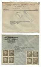 Paraguay 1946 - 7 Vintage Air Mail stamped envelops post marked 1946 Asuncion NY