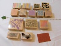 Lot of Misc Wood Mount Stamp Set includes 15 rubber stamps Scrap-booking variety