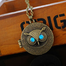 1PC Vintage Bronze Blue Eye Owl Locket Long Chain Pendant Necklace Keepsake Gift