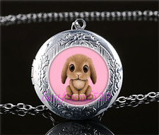 Pink Bunny Rabbit  Cabochon Glass Tibet Silver Locket Pendant Necklace