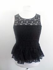 Jack Wills Black Leigen Peplum Top Size UK 12 RRP £64.50 Box46 61 R