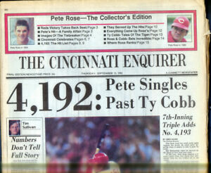 1 -  Full Newspaper  Pete Roses 4192 Base hit Most all time Cincinatti Paper
