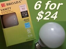 "(6x) CFL Vanity Globe Compact Fluorescent G25 3"" Bulbs - 14watt Warm White ~60w"