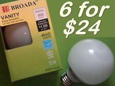 "(6x) CFL Vanity Globe Compact Fluorescent G25 3"" Bulbs - 14watt Warm White ~60w"