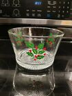 Indiana Glass Christmas Holly & Berries Serving Bowl Ice Bucket Vtg Holiday