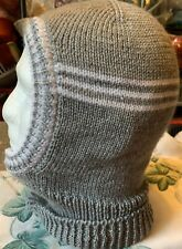 Men's Knitted Balaclava In Light Grey With Pure White Stripes Soft & Warm DK