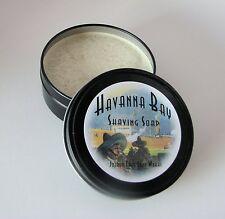 Havana Bay Handmade Shaving Soap with Goat's Milk, in a 4 Ounce black Travel Tin
