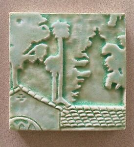 Vintage SCRIPPS COLLEGE 2000 Art Pottery Tile - Stylized Arts Crafts Design