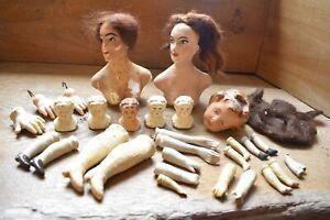 Antique, Boudoir Wax Dolls, Bisque Hands, Feet, Arms, Victorian, 1920s