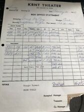 KRNT Theater Original Box Office Receipt - Marty Robbins & George Jones 1966