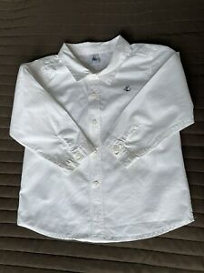 New Petit Bateau boys white cotton shirt (size 3y- 36 Months )