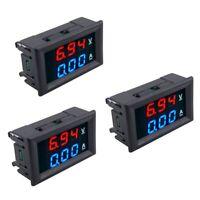 3pcs LED Digital DC 0-100V 10A Voltage Amp Volt Meter Panel Dual Voltmeter A N1Y