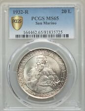 SAN MARINO 1932-R  20 LIRE SILVER COIN, GEM UNCIRCULATED, PCGS CERTIFIED MS65