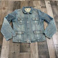 Talbots Adult Womens Size 14 Zip Up Long Sleeve Stretch Zip Up Blue Denim Jacket