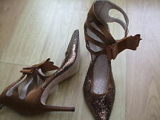 BODEN ELEGANT NEW GOLD SPARKLE HEELED PARTY SHOES SIZE 40==6.5 BNWOB