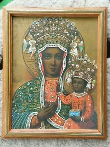 FRAMED WALL ART Black Virgin Mary with Child African American Madonna  Free Ship