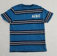 Aeropostale Blue White Striped Sewn Spellout Logo T-Shirt Men's Medium YE