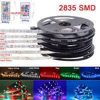 5M 10M 15M 2835 SMD RGB LED Strip Light + Power Supply + 24key / 44key IR Remote