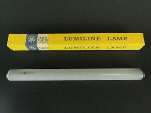 "1x NOS GE Lumiline 11.75"" 40w 120v Inside Frost Incandescent Lamp +Cover TESTED!"