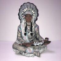 "Sundance Collection USA Native Man w Pipe Shelf Sitter Pottery Figure 8.75"" tall"
