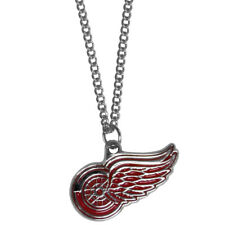 "Detroit Red Wings 22"" Chain Necklace Metal Logo NHL Licensed Hockey Jewelry"
