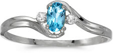 14k White Gold Oval Blue Topaz And Diamond Ring (CM-RM1678XW-12)