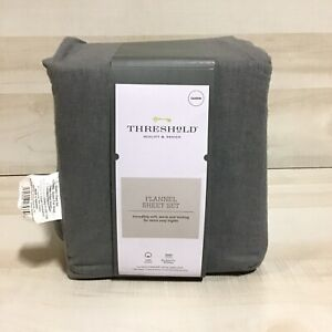 Queen Solid Fall Flannel Sheet Set Dark Gray - Threshold™