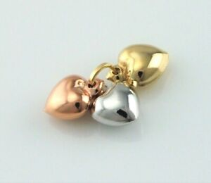 9ct Gold Yellow, White & Rose Colour Three Hearts Pendant / Charm