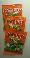 Haribo Frogs 3 Pack Bags Green And White Frog Soft Chewy Gummies Candy 4 oz