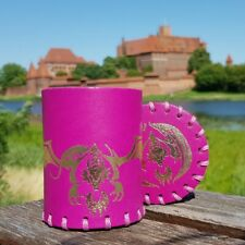 Flying Dragon Magenta & gold Leather Dice Cup [unusual]