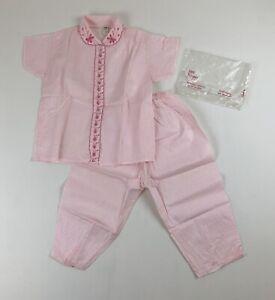 Girls Vtg '60s NOS Pink/White Polka Dot Lightweight Pajamas Set Sz 12 Top Pants