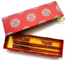 GIFT SET 2 Pairs Chopsticks/Rests/Gift Box wooden Features Chinese Dragon design