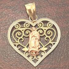 Heart Religious 14k White Yellow Gold Two Tone Virgin Mary  Pendant Charm
