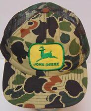 Old Vintage 1980s JOHN DEERE CAMO CAMOUFLAGE PATCH Snapback Trucker Hat Cap USA