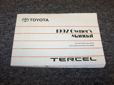 1992 Toyota Tercel Sedan Owner Owner's Operator User Guide Manual DX LE 1.5L