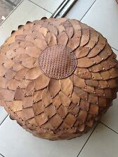 Genuine HAND MADE pouf in vera pelle-Large-Marrone Medio