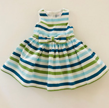 Janie and Jack Baby Girl 3-6 Months Striped Dress Bow Blue Green White