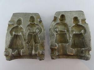 alte französiche Junge & Mädchen Bonbon Schokoladen Pralinen Marzipan Form