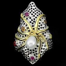 Ring Oktopus Perle Saphir bunt Rubin 925 Silber 585 Weißgold Gelbgold Gr. 56